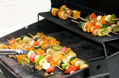 Skewers on a Grill Stock Photos