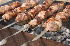 Skewers on the grill Stock Image