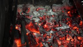 Barbecue. Skewers grilled on the outdoor fireplace stock footage