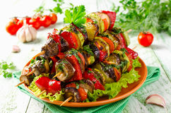 Skewers of grilled vegetables and cheese Stock Images