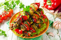 Skewers of grilled vegetables and cheese Stock Photo