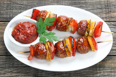 Skewers made of minced meat Stock Photography