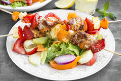 Skewers Meal with Grilled Chicken, Tomatoes and Peppers Royalty Free Stock Images