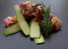 Skewers of meat. Meat kebabs with zucchini for barbecue Royalty Free Stock Photography