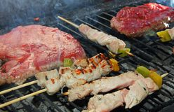 Skewers of meat  on the barbecue in the garden Stock Image