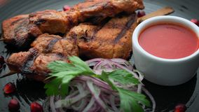 Skewers of meat with onions and sauce stock video footage