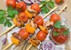 Skewers of meat and vegetables. horizontal photo. Royalty Free Stock Image