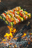 Skewers Over Open Fire Royalty Free Stock Photos