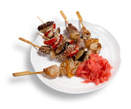Skewers on a plate Stock Photo