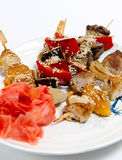 Skewers on a plate Stock Image