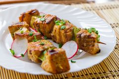 Skewers of pork, radishes and green onions on a white plate close-up. Horizontal Royalty Free Stock Photography
