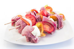 Skewers of Pork and Vegetables, Raw Stock Photos