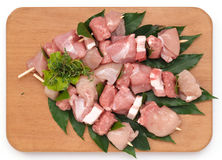 Skewers of pork Stock Photo