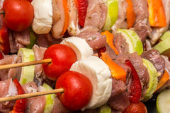 Skewers Prepared For Barbecue Royalty Free Stock Photography