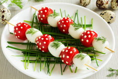 Skewers of quail eggs Royalty Free Stock Photography