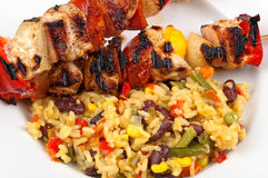 Skewers with rice Stock Photo