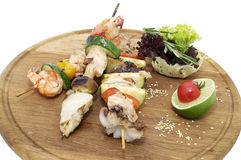 Skewers of seafood Stock Images