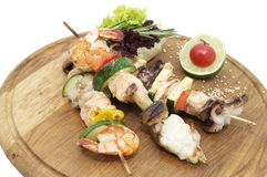 Skewers of seafood Royalty Free Stock Images