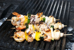 skewers of seafood Stock Photo