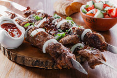 Skewers shashlik kebab Stock Images