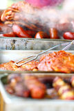 Skewers shish kebab other meat on BBQ Royalty Free Stock Photography