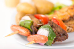 Skewers shish kebab sticks grilled meat chicken Stock Images