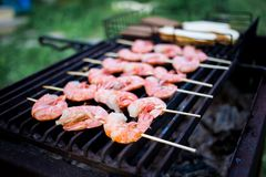 Skewers of shrimp langoustine on the grill stock photo