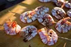 fried langoustines on skewer royalty free stock photos