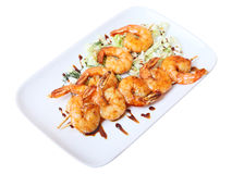 Skewers of shrimps Stock Photography