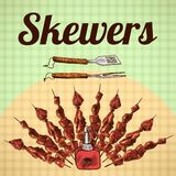 Skewers sketch poster Royalty Free Stock Photos