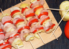 Skewers. Skewer chicken tomato white black bamboo vegetable fresh nutritious eating Stock Photo