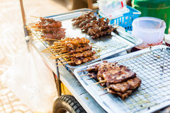 Skewers in a street stall Royalty Free Stock Photos