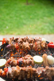 Skewers of various meats and vegetables on the grill Royalty Free Stock Photos