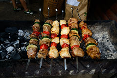 Skewers of veal with zucchini and tomatoes Royalty Free Stock Photography