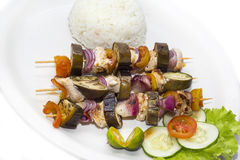 Skewers of vegetables and chicken Stock Photo