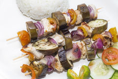 Skewers of vegetables and chicken Stock Image