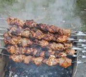 Skewers z mięsem na grilla grillu Zdjęcia Stock