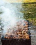 Skewers z mięsem na grilla grillu Zdjęcia Royalty Free