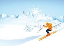 Skiër in bergen stock illustratie