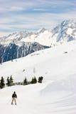 Skiër bij het spoor Royalty-vrije Stock Afbeelding