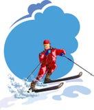 Skiër met Hemel en sneeuw - Illustratie Royalty-vrije Stock Fotografie