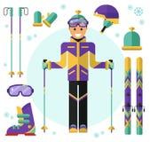 Skiër met materiaal Royalty-vrije Stock Afbeelding
