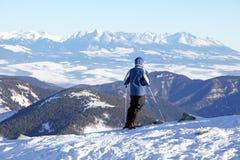 Skiër op de heuvel Chopok, Slowakije Stock Foto's