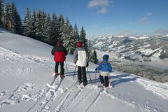 Skiërs Royalty-vrije Stock Afbeeldingen