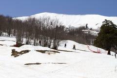 Skiërs die van de sneeuw genieten Royalty-vrije Stock Fotografie