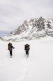 Skiërs op Vallee Blanche Stock Afbeelding