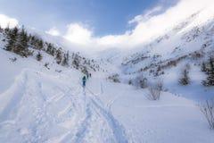 Skiërs in Tatra-Bergen - Polen/Slowakije Royalty-vrije Stock Fotografie
