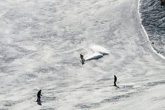 Skiërs tegen het Licht, Oostenrijk Royalty-vrije Stock Foto's