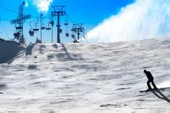 Skiërsilhouet Stock Foto