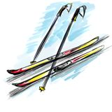 Ski. Sports equipment. A ski. Illustration in water-colouring Royalty Free Stock Images